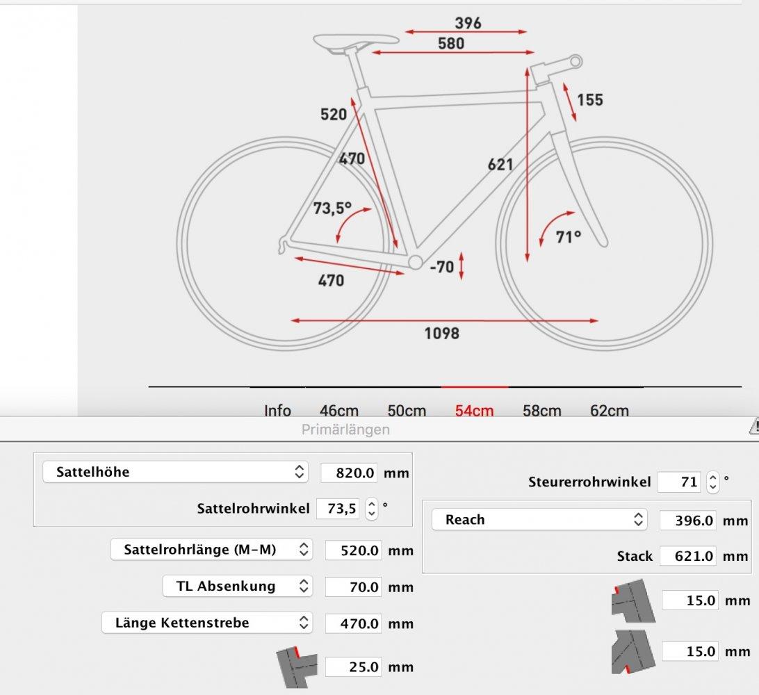 Cube Hyde Maße bei BikeCad.