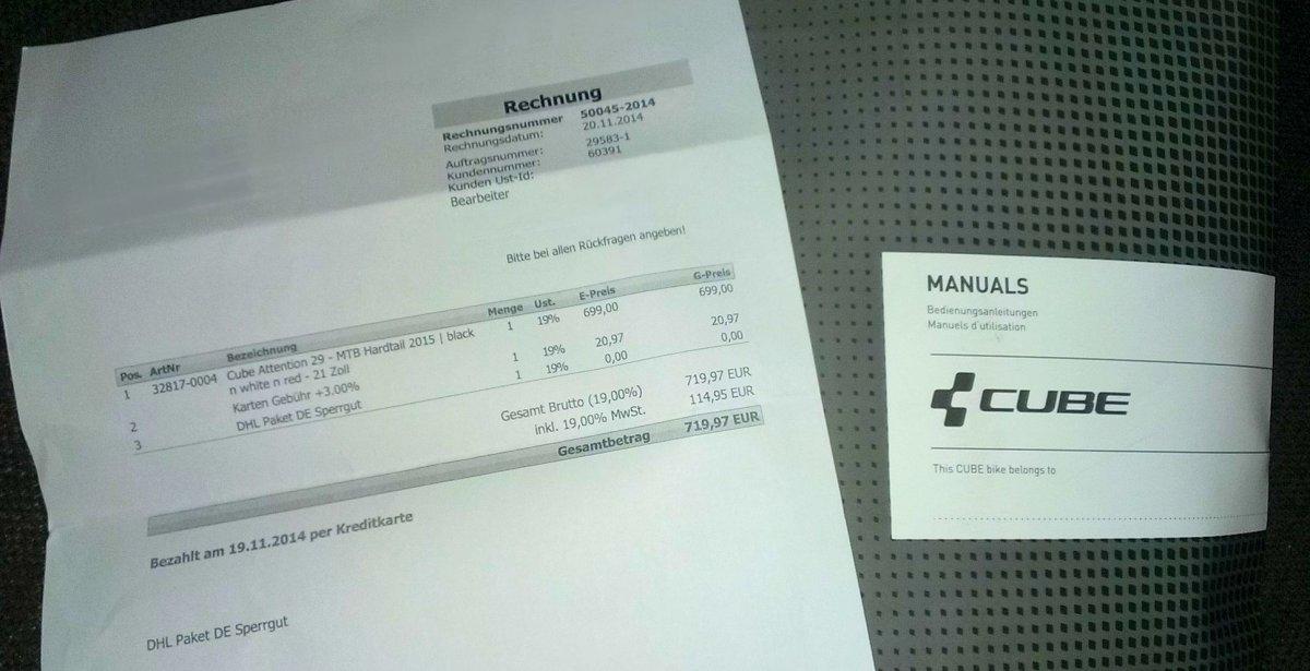 Rahmennummer Cube Attention 2015 | MTB-News.de
