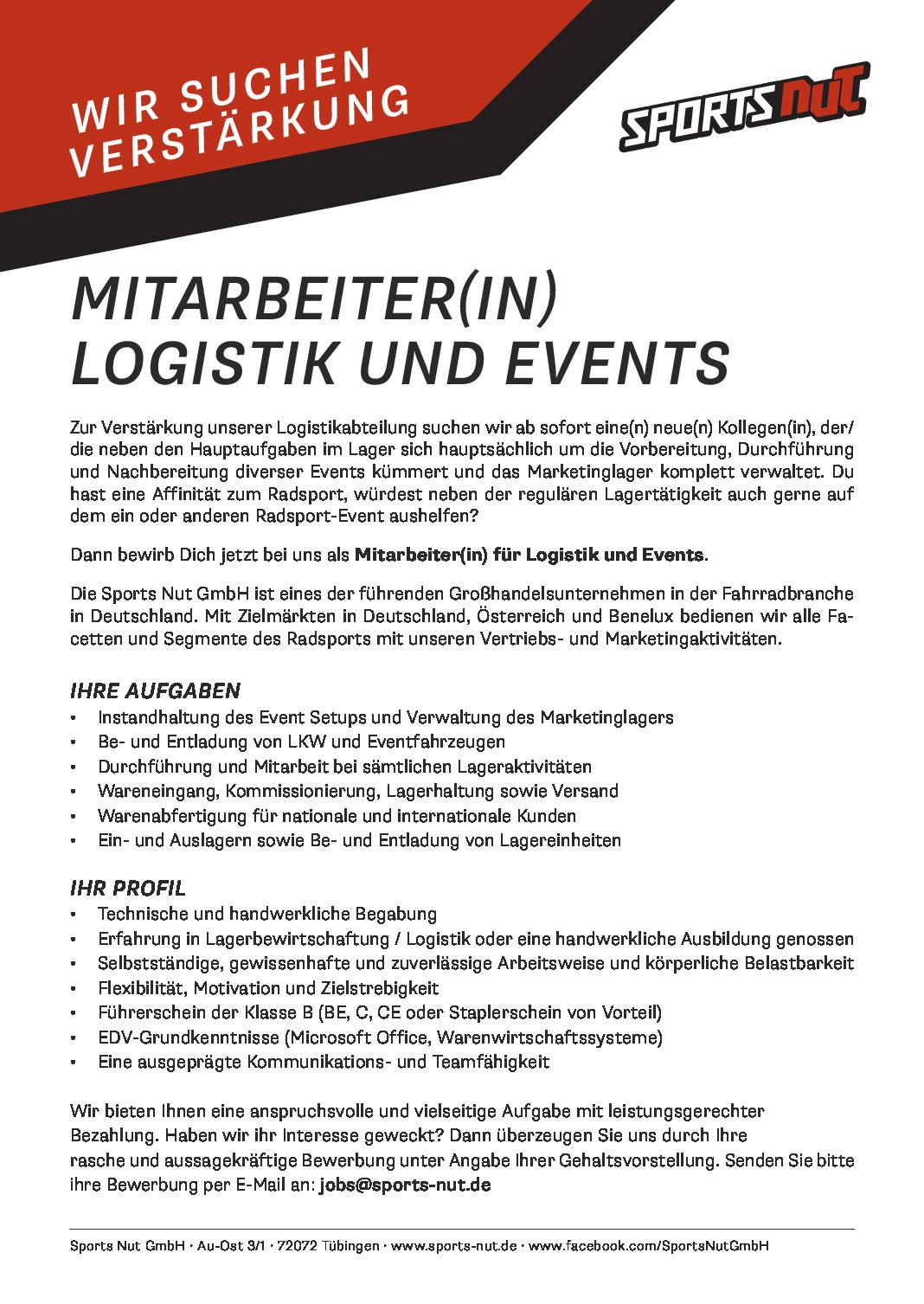 mitarbeiter m w d logistik und events mtb jobs. Black Bedroom Furniture Sets. Home Design Ideas