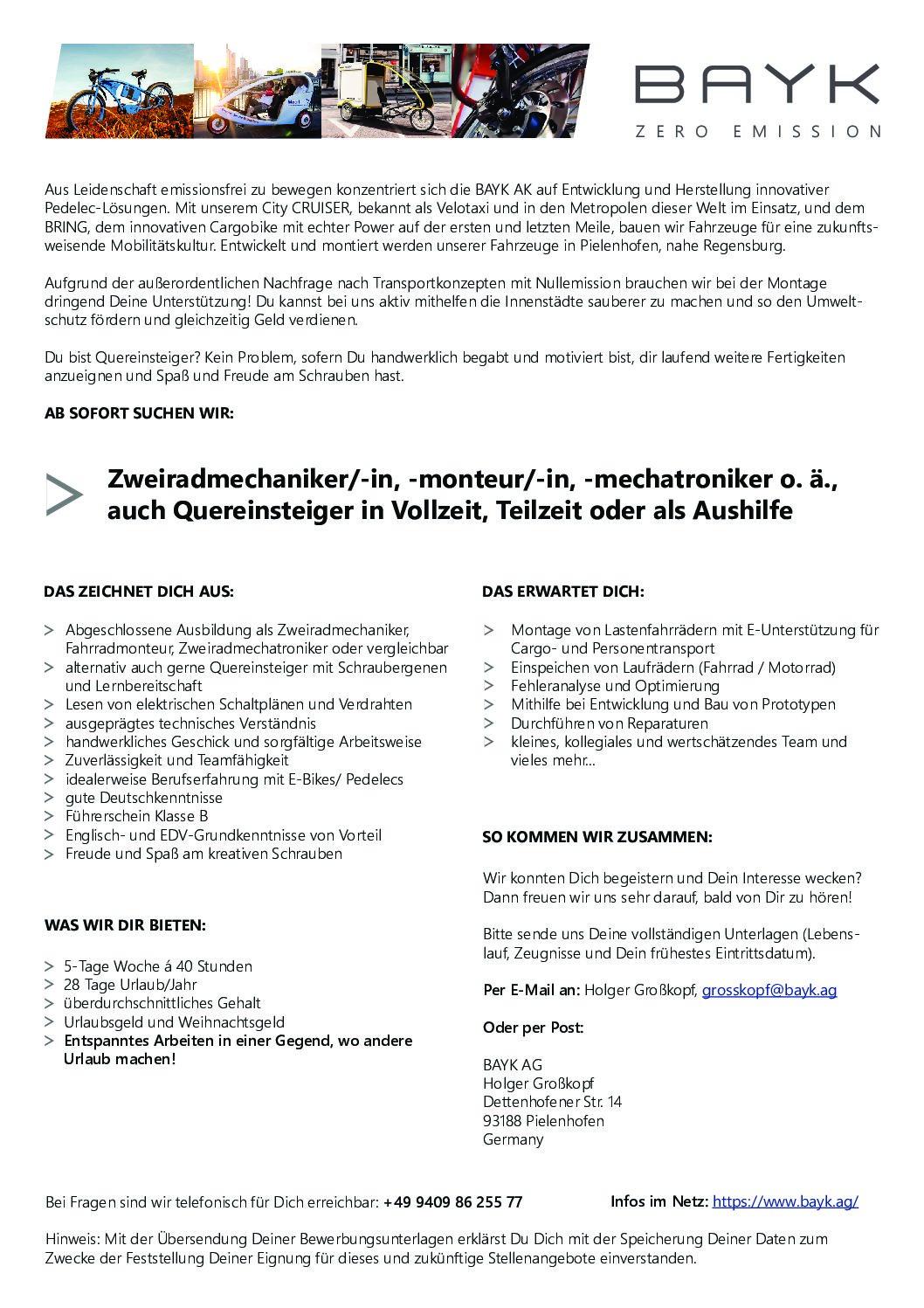Stellenangebote in der Fahrradbranche MTB jobs