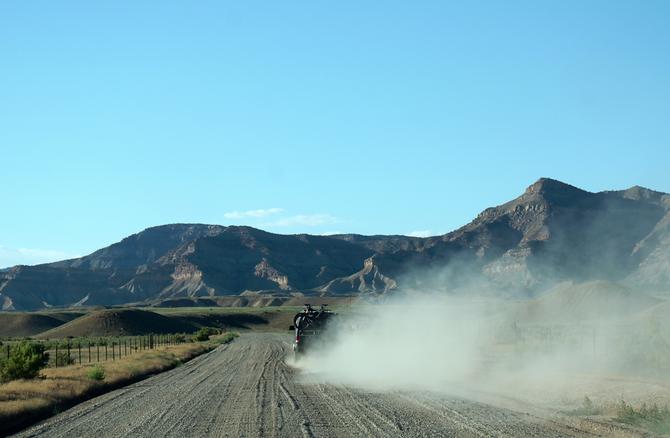 Staubige Anfahrt zu den 18 Road Trails